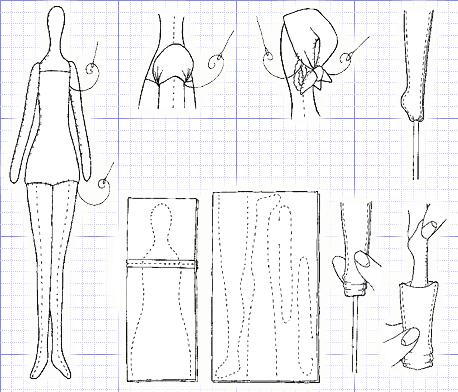 выкройка куклы для шитья