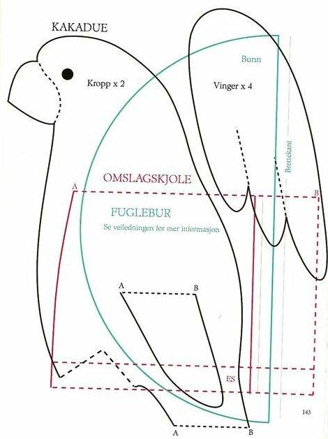 Выкройка попугая из мультика 38 попугаев