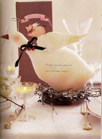 Праздничный гусь в стиле тильда на столе: выкройка мягкой игрушки для шитья
