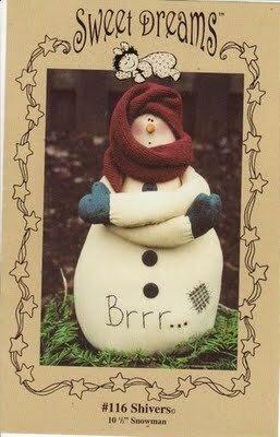 Снеговик под новый год в стиле Тильда: выкройка мягкой игрушки