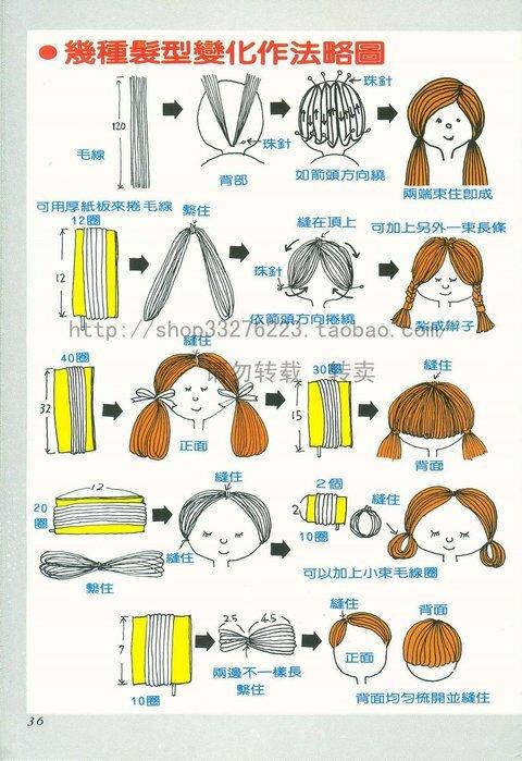 Волосы для куклы из пряжи своими руками
