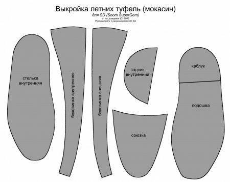 Туфли мокасины (выкройка)