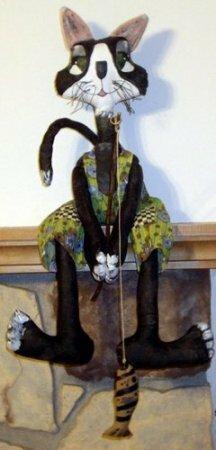 """""""Кот рыбак"""" - примитивная игрушка. Выкройка"""